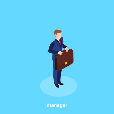 un homme en costume d'affaires avec une mallette dans les mains se tient sur un fond bleu, une image isométrique Vecteurs