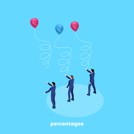 men in business suits launch balloons with percentages into the sky, an isometric image Illustration