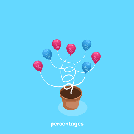 a vase from which a tree grows with percentages instead of leaves, an isometric image