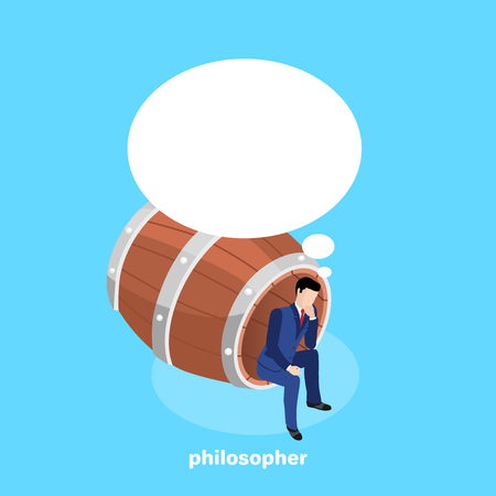 a man in a business suit, as a philosopher reflects and sits in a large wooden barrel, an isometric image Ilustrace
