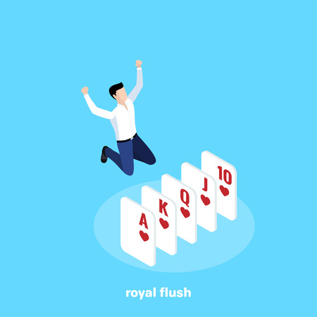 the man jumped for joy that he had collected a winning combination of cards in poker, a royal flush, an isometric image