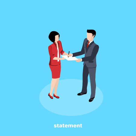 man in business suit signs document on woman's hands, isometric image