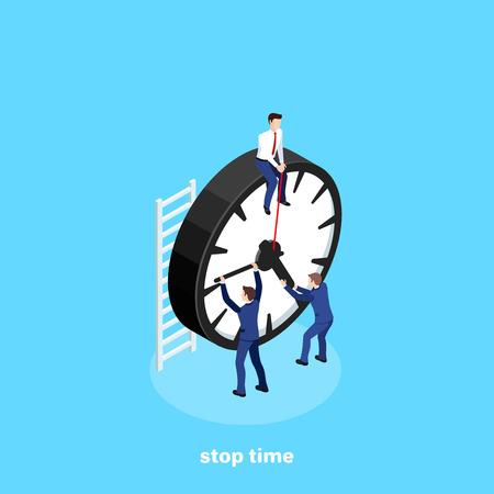 el hombre en traje de negocios cuelga del minutero del reloj tratando de detener el tiempo, imagen isométrica