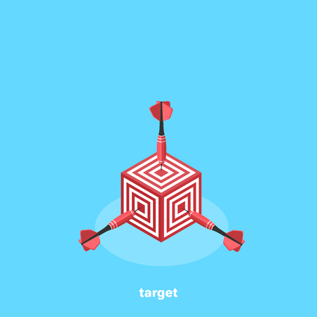square target with darts sticking out of it, getting directly into the glue, isometric image