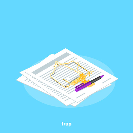 isometric image on a blue background, sheets of paper like a mousetrap and pen