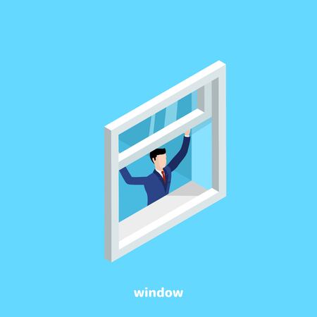 a man in a business suit opens a window on a blue background, an isometric image