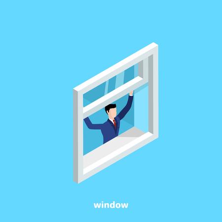 een man in een pak opent een raam op een blauwe achtergrond, een isometrische afbeelding