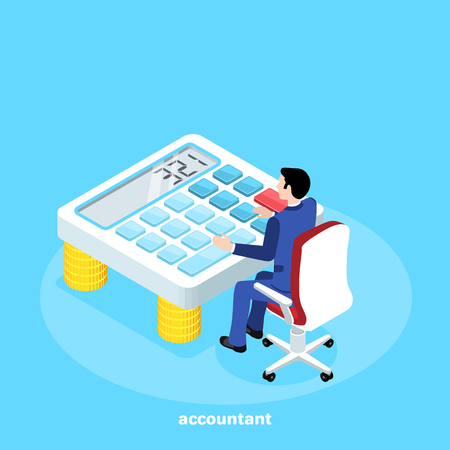isometric image, a man in a business suit sits on an office chair behind a large calculator