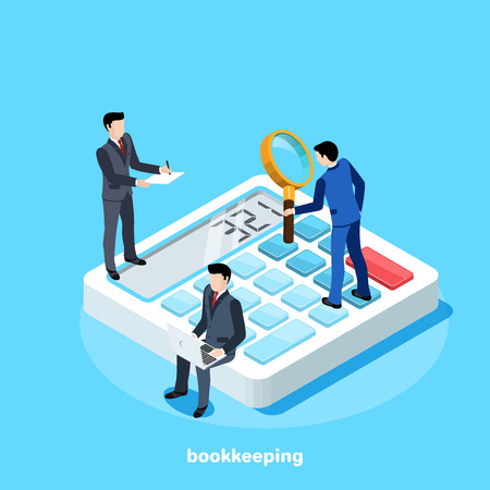 isometric image, people in business suits work in a team on a large calculator