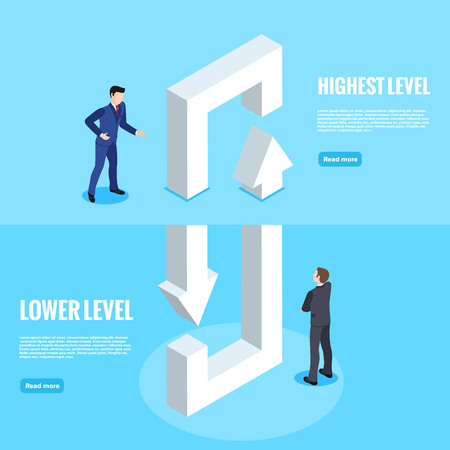 isometric image, people in business suits look at the looped arrows passing between two levels, the web banner Ilustração