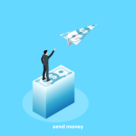 isometric image, a man in a business suit stands on a high pile of money and launches an airplane out of a cash bill