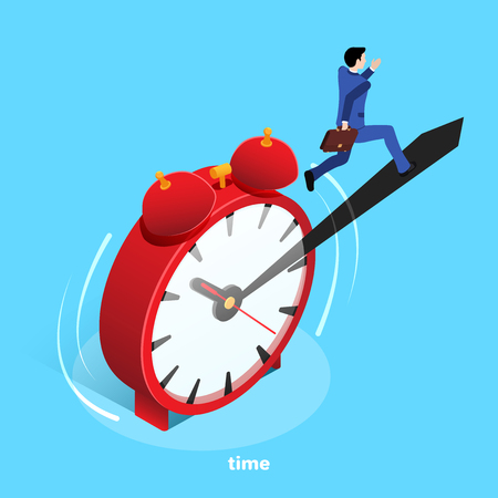 an isometric image, a man in a business suit runs along the protruding border of a red alarm clock standing on a blue background
