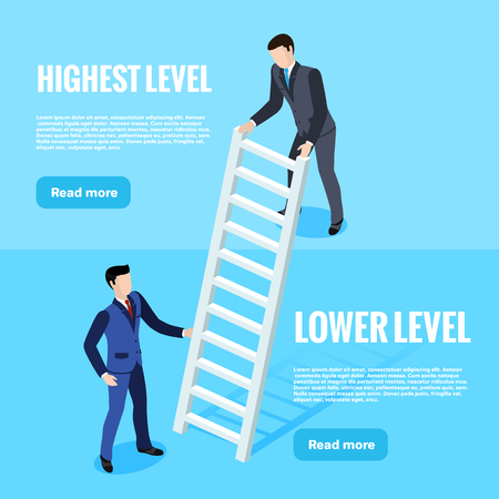 isometric image, men in business suits install a ladder linking two levels, a web banner Illustration