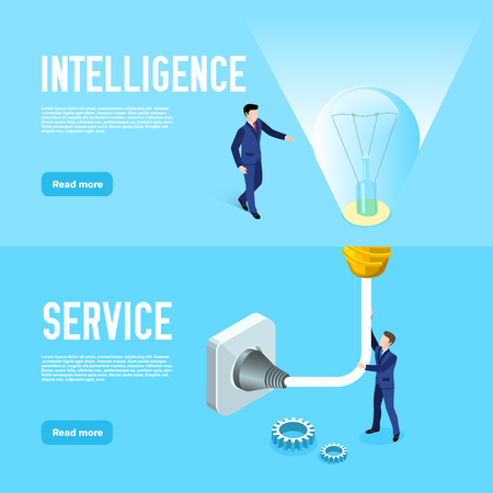 isometric image, men in business suits work in a team, connect an electric light bulb to the outlet, design of the landing