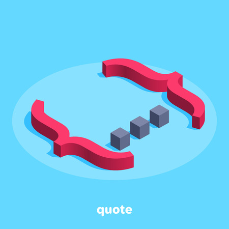 Isometric image on a blue background, large red curly brackets with dots inside, quote or comment 일러스트