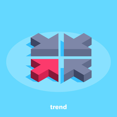 red arrow on blue background, isometric image