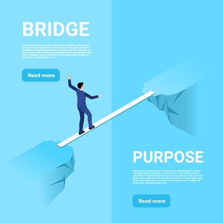 isometrisches Bild auf blauem Hintergrund, ein Mann in einem Business-Anzug geht auf einer dünnen Brücke durch die Lücke zwischen den Felsen, um Hindernisse zu überwinden