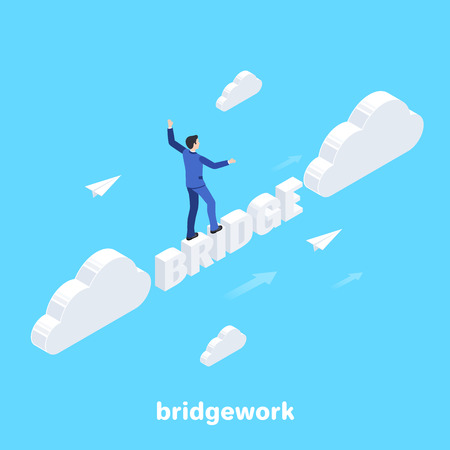 isometric image on a blue background, a man in a business suit walks over a bridge of letters, between clouds, business success Ilustrace