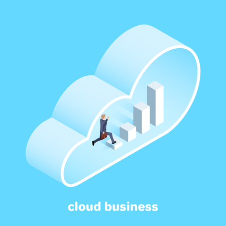 isometric image on a blue background, a man in a business suit running along a growing chart inside a large cloud