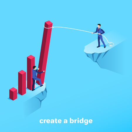 Isometric image on a blue background, men in business suits on the edge of the abyss and a red column of the chart as a bridge