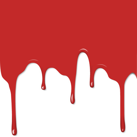 flat image, red drips on white background, paint or blood Illustration