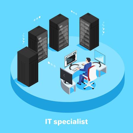 isometrisches Bild auf blauem Hintergrund, ein Mann im Anzug sitzt am Arbeitsplatz vor einem Computer im Serverraum, IT-Spezialist; Vektorgrafik