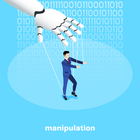 isometric image on a blue background, a robot hand manipulates a man in a business suit Ilustração