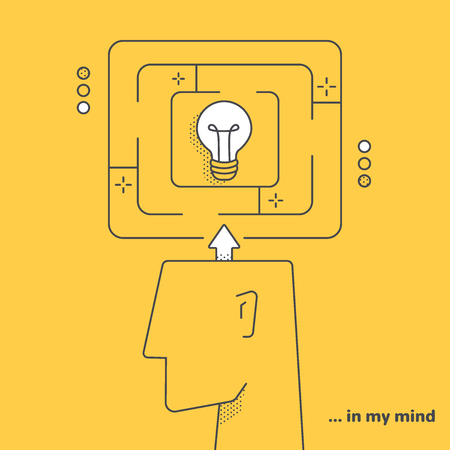 vector linear image on a yellow background, a man's head and a labyrinth with a light bulb in the center