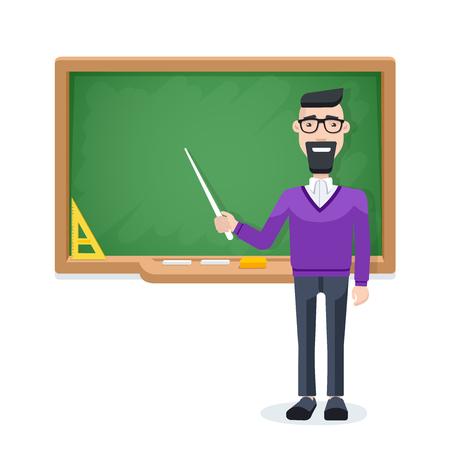 imagen plana sobre un fondo blanco, un profesor con un puntero se encuentra cerca de la junta escolar, estudiando en la escuela o la universidad