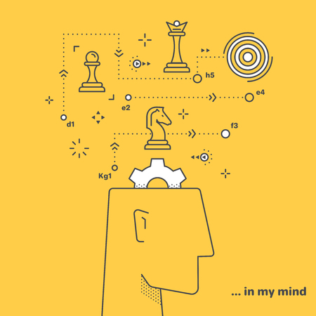 flat vector image in a linear style on a yellow background, human head and chess pieces, business strategy