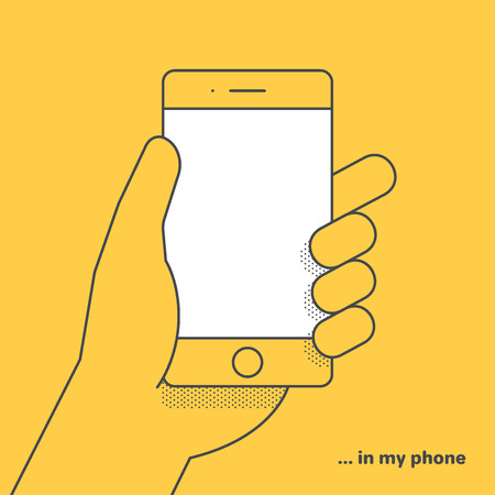 flat vector linear image on yellow background, hand is holding smartphone