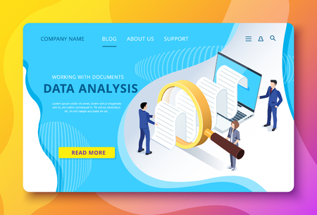 isometric vector image of a landing page, people in business suits study documentation through a magnifying glass on a laptop screen 免版税图像 - 120841612