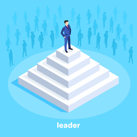 isometric vector image on a blue background, a man in a business suit stands on top of a white pyramid, people silhouettes