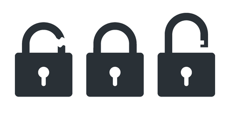 flat vector icon on white background, closed and open lock, hacked protection