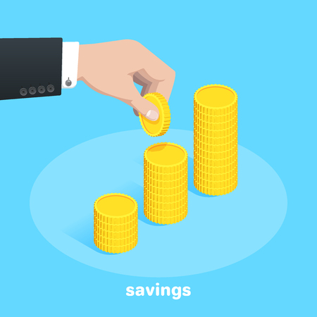 Isometric vector image on a blue background, a man in a business suit and columns of gold coins, cash investments or savings