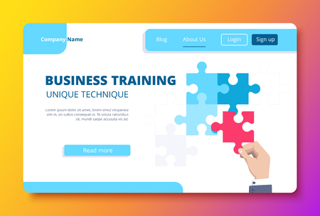 vector image on a gradient background, the hand of a business person holds a red puzzle, a business training landing