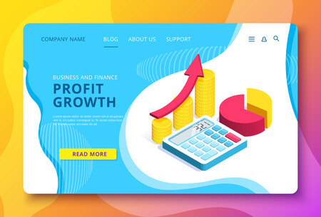 isometric vector image on a blue background, a landing page for a business site, luck in business and making profit, coins and calculator, arrow and chart