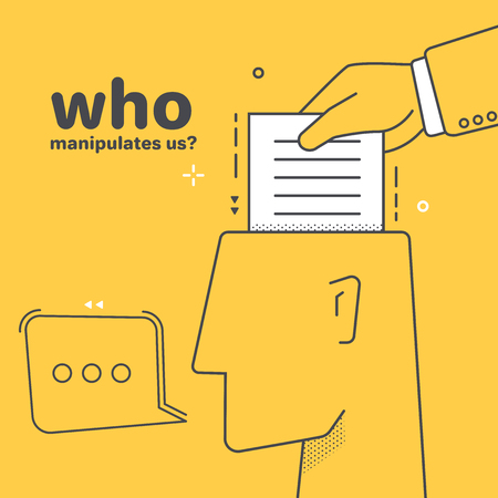 flat linear vector image on yellow background, hand holding a piece of paper and head with a replica icon, mind manipulation