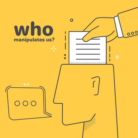image vectorielle linéaire à plat sur fond jaune, main tenant un morceau de papier et la tête avec une icône de réplique, manipulation de l'esprit