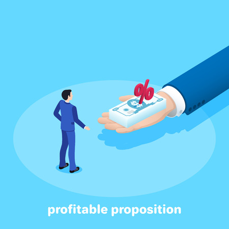 isometric vector image on a blue background, a man in a business suit is standing in front of him with banknotes, advantageous money offer Vector Illustration