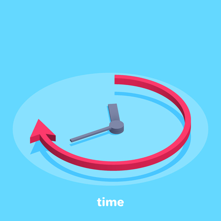 isometric vector image on a blue background, business clock, arrow and time icon