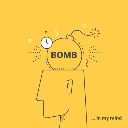 flat linear vector image on yellow background, human head and bomb, stress and nerves
