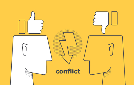 flat linear vector image on yellow background, human head and like, conflict between internet users