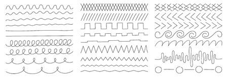 liniowy obraz wektorowy na białym tle, zestaw geometrycznych linii i kształtów, elementy wystroju i wzornictwa