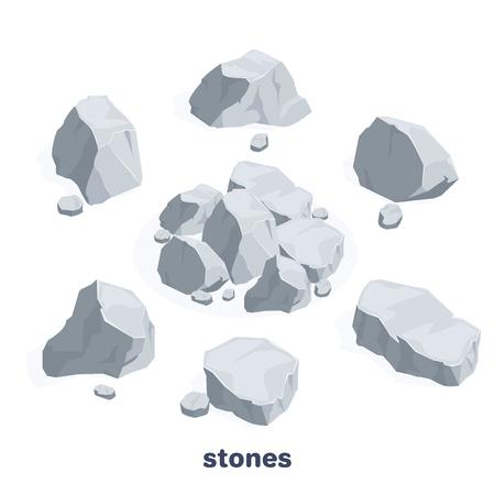 Imagen vectorial isométrica sobre un fondo blanco, un conjunto de piedras grises con reflejos y sombras, rocas y grava