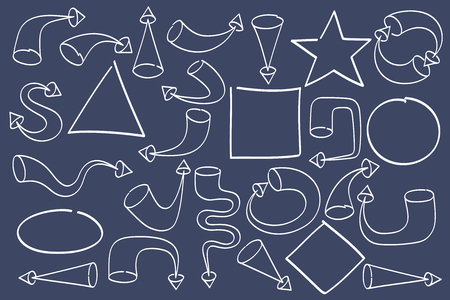 flat vector image on black background, a set of arrows of different formats and shapes, pointers for web design