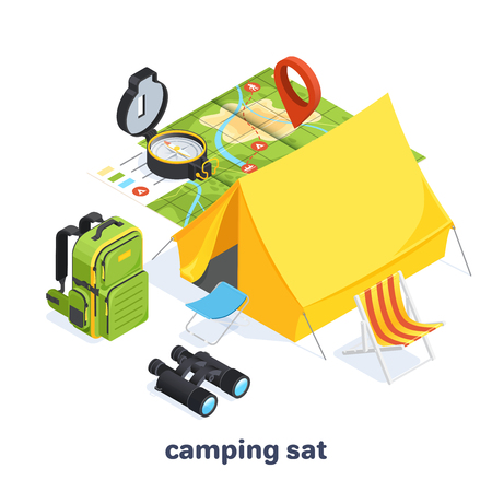 isometric vector image on a white background, set of elements on the theme of camping and tourism, backpacks and bicycles Çizim