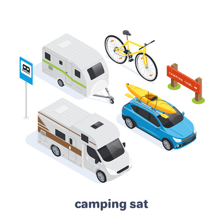 isometric vector image on a white background, set of elements on the theme of camping and transport for tourism, cars and bicycles Çizim