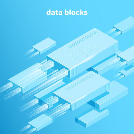 isometric vector image on a blue background, data platform consisting of rectangles and lines, data analysis and processing, cluster system Çizim