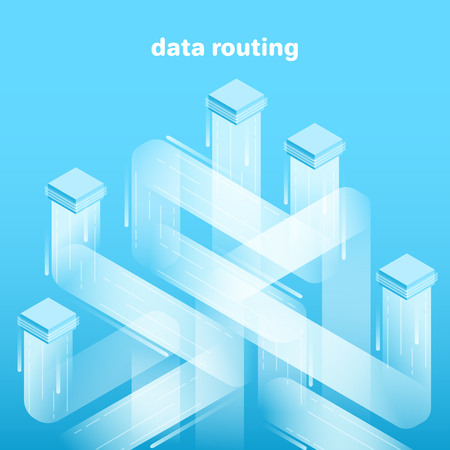 isometric vector image on blue background, data platform consisting of rectangles and lines, data analysis and processing, cluster system, routing Çizim